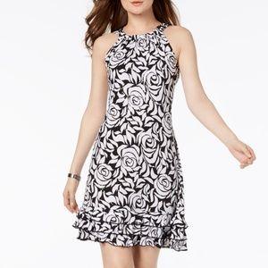 NWT Floral Sequin Halter Ruffle Shift Midi Dress